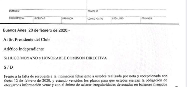 Carta Documento a las autoridades del CAI